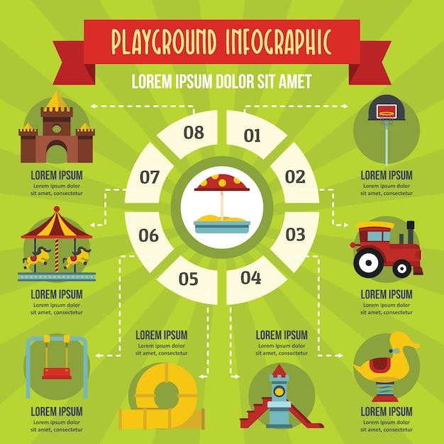 Speelplaats infographic concept, vlakke stijl Premium Vector