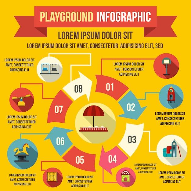 Speelplaats infographic elementen in vlakke stijl voor elk ontwerp Premium Vector