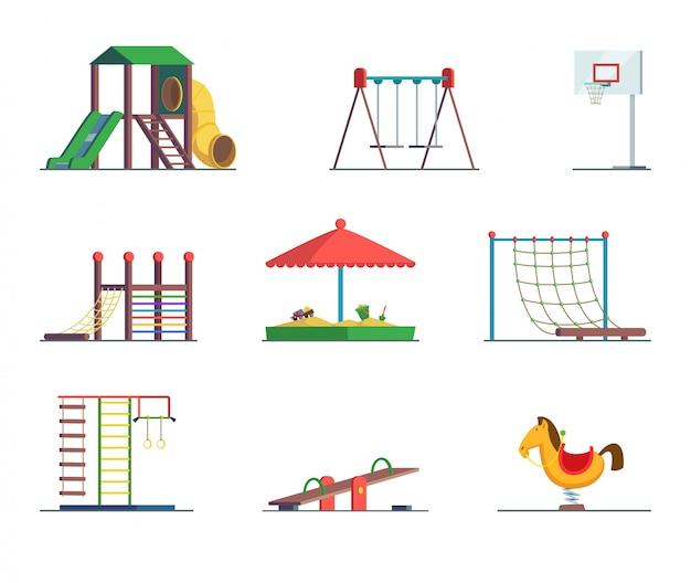 Speeltoestellen. leuk gebied voor kinderen. Premium Vector