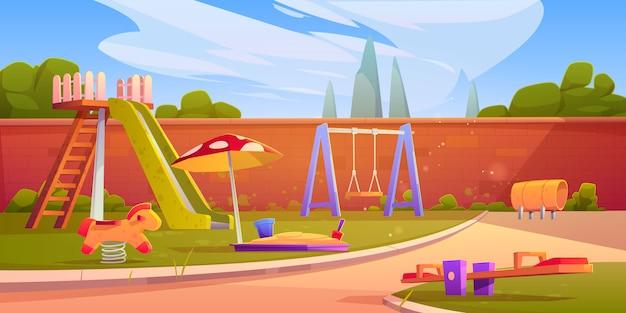 Speeltuin in de zomer park of kleuterschool Gratis Vector