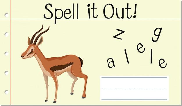 Spel engels woord gazelle Gratis Vector