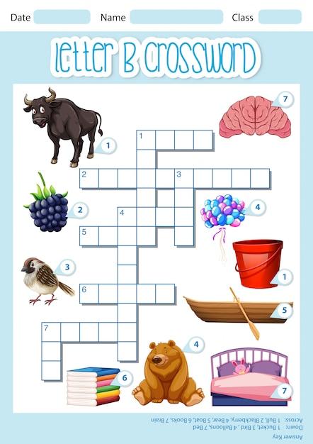 Spel sjabloon kruiswoordraadsel letter b Gratis Vector