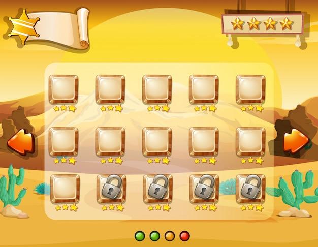 Spel sjabloon met woestijn achtergrond Gratis Vector