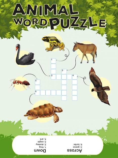 Spel sjabloon voor dieren woord puzzel Gratis Vector