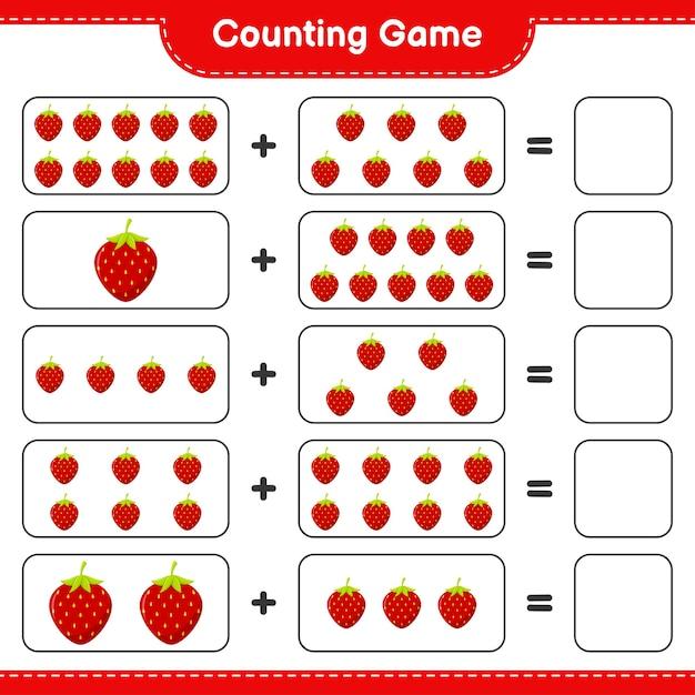 Spel tellen, tel het aantal aardbeien en schrijf het resultaat. Premium Vector