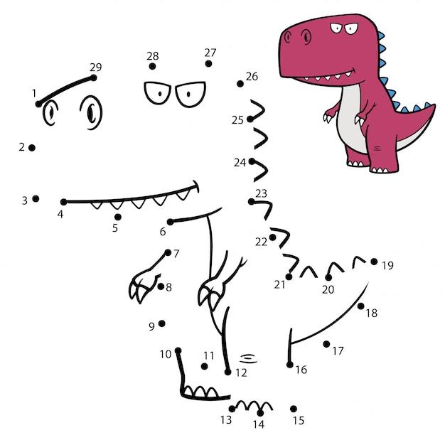 Spel voor kinderen punt tot punt dinosaur Premium Vector