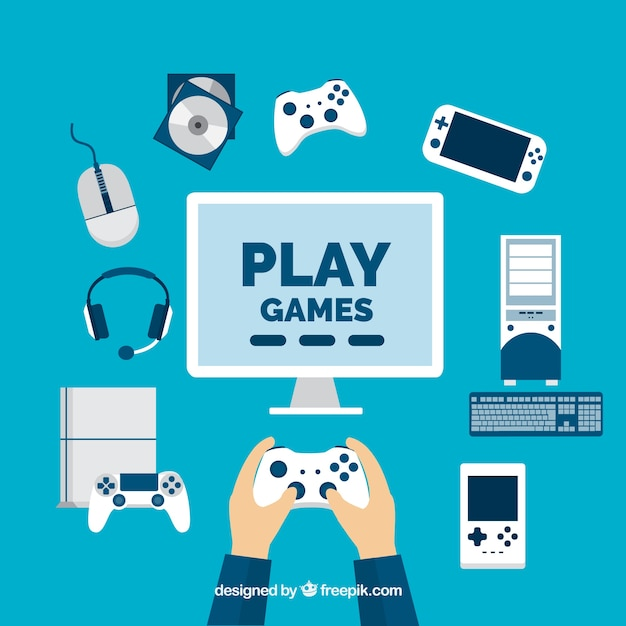 Speler met video game-elementen in plat design Gratis Vector