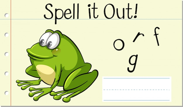 Spellen engels woord frog Gratis Vector