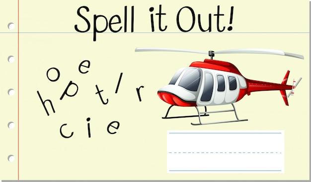 Spellen engels woord helikopter Gratis Vector