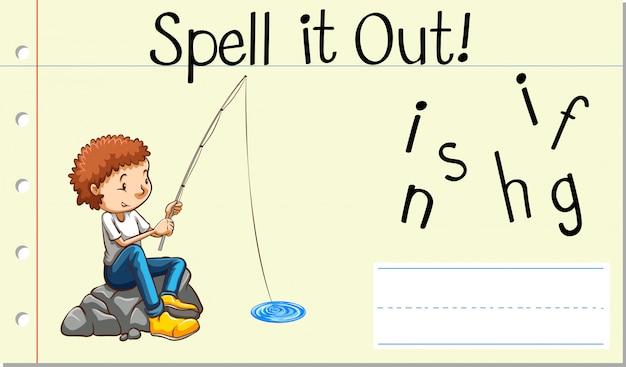 Spellen engels woord vissen Gratis Vector