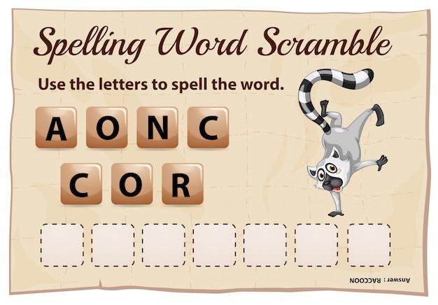 Spelling scramble game sjabloon voor wasbeer Gratis Vector