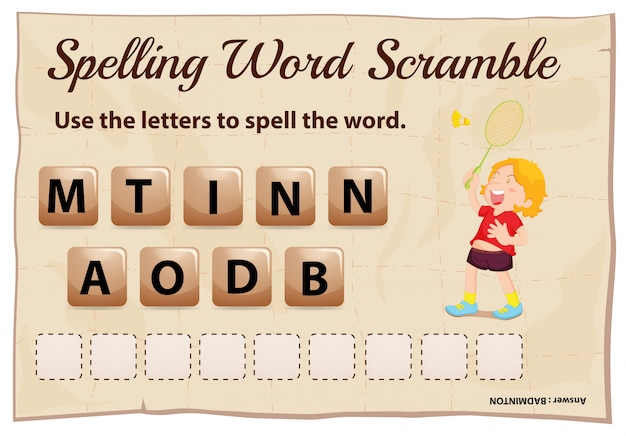 Spelling woord scramble game met woord badminton Gratis Vector