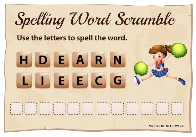 Spelling woord scramble game met woord cheerleading Gratis Vector