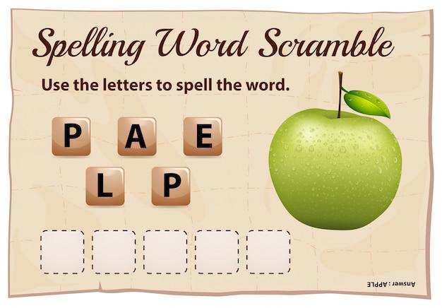 Spelling woord scramble game met woord groene appel Gratis Vector