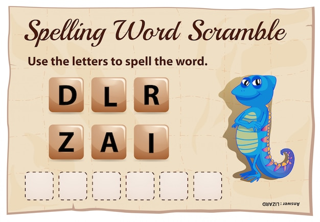 Spelling woord scramble game met woord hagedis Premium Vector