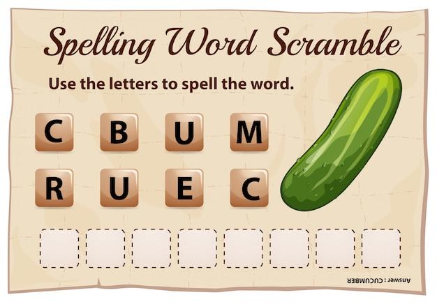 Spelling woord scramble game met woord komkommer Gratis Vector