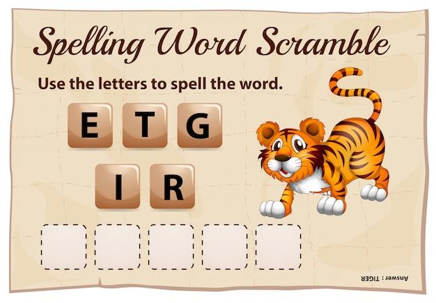Spelling woord scramble game met woord tijger Gratis Vector