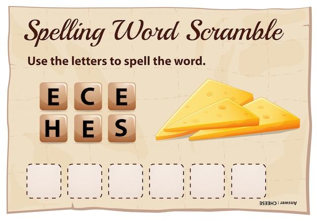 Spelling woord scramble game sjabloon met woord kaas Premium Vector