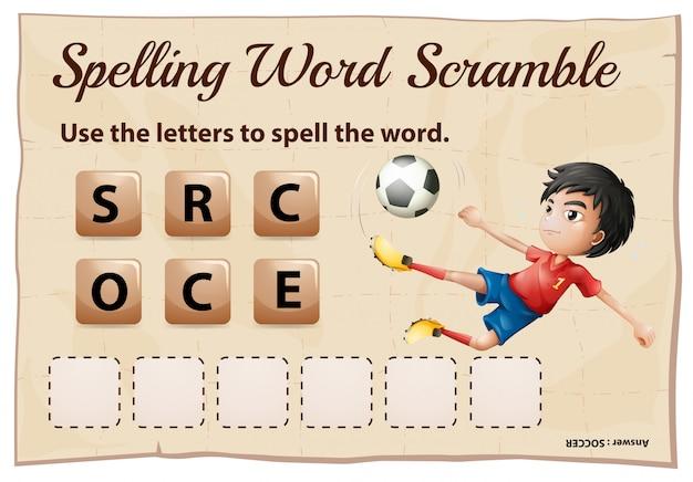 Spelling woord scramble game sjabloon met woord voetbal Gratis Vector