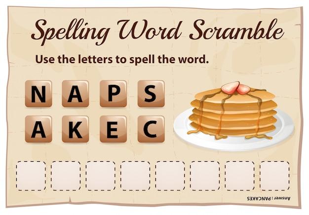 Spelling woord scramble sjabloon met woord pannenkoek Premium Vector