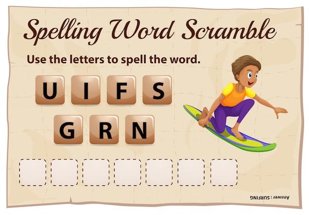 Spelling woord scramble sjabloon met woord surfen Gratis Vector