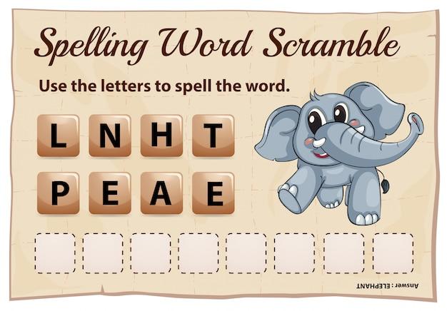 Spelling woord scramble spel voor woord olifant Gratis Vector