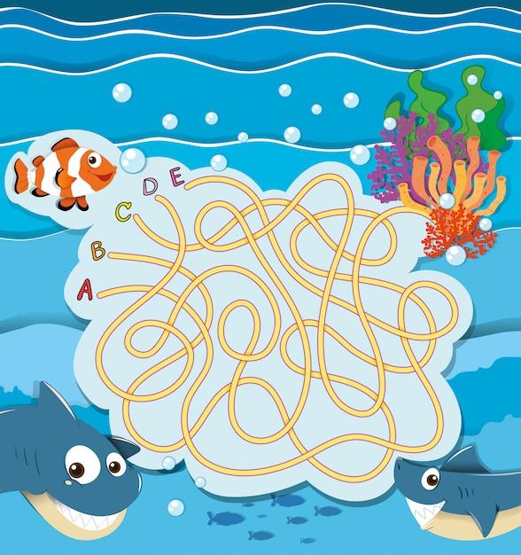 Spelmalplaatje met onderwatervissen Gratis Vector
