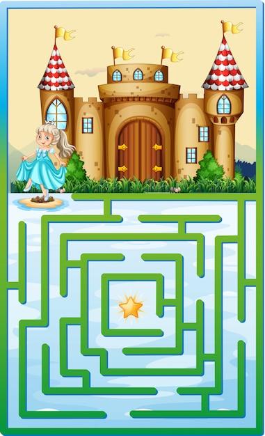 Spelmalplaatje met prinses en kasteel Gratis Vector