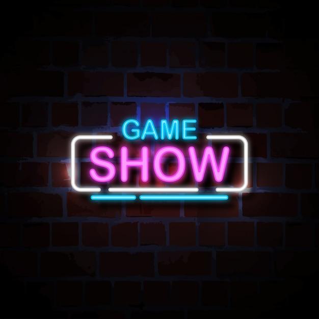 Spelshow neon stijl teken illustratie Premium Vector