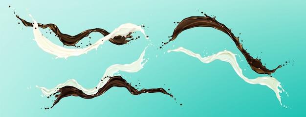 Spetters van chocolade en melk, vloeibare cacao en room, koffie Gratis Vector