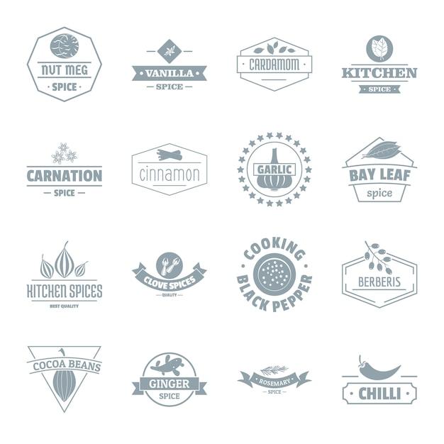 Spice logo pictogrammen instellen Premium Vector