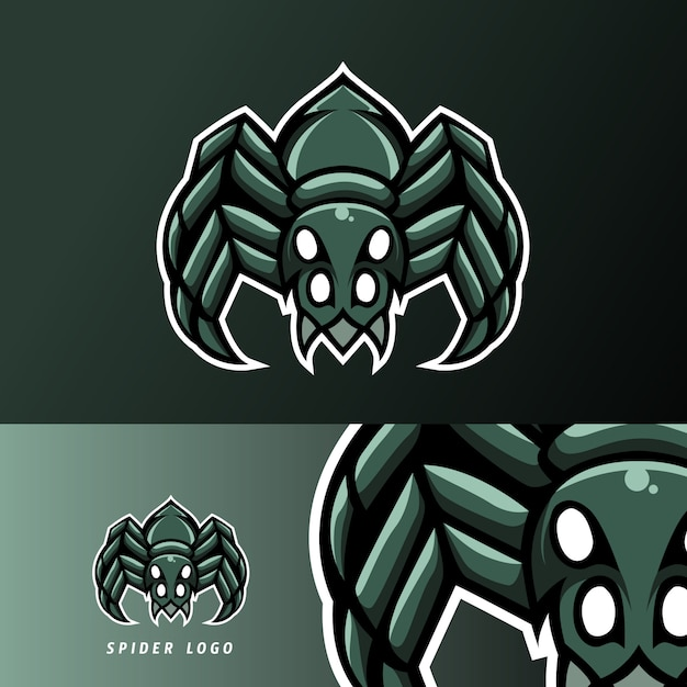 Spider mascotte sport esport logog sjabloon Premium Vector
