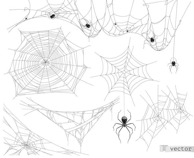 Spider web illustratie set Premium Vector