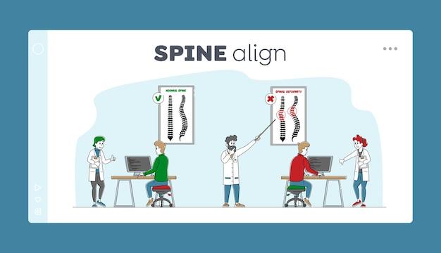 Spinale misvorming scoliose en kromming van de ruggengraat van de wervelkolom Premium Vector