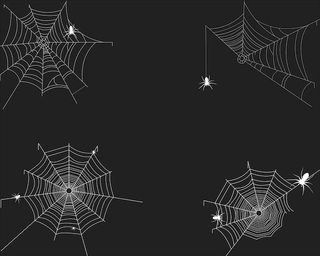 Spinnenweb op wit Premium Vector