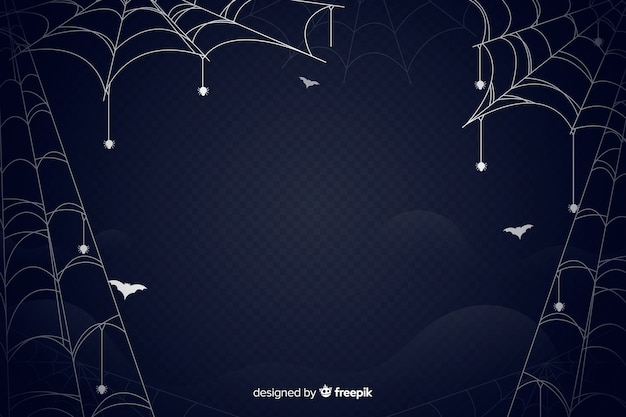 Spinnewebhalloween plat ontwerp als achtergrond Gratis Vector