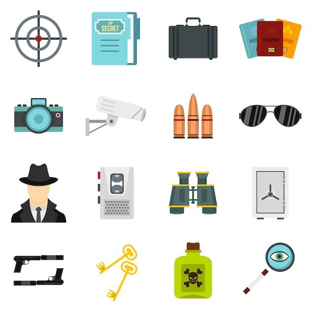 Spionhulpmiddelen geplaatst vlakke pictogrammen Premium Vector