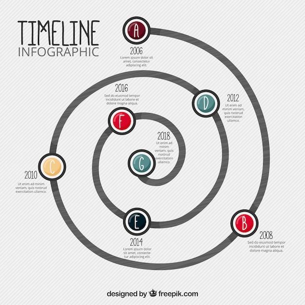 Spiraal infographics Gratis Vector