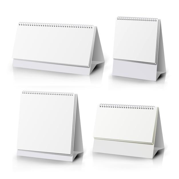 Spiraal kalender. witte blanco papieren bureau spiraal kalender. Premium Vector
