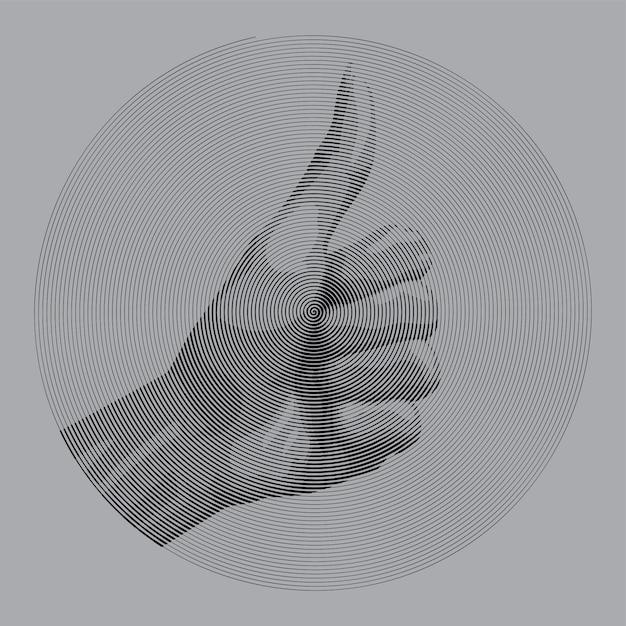 Spiraalvormige tekenstijl hand geef duim voor als Premium Vector