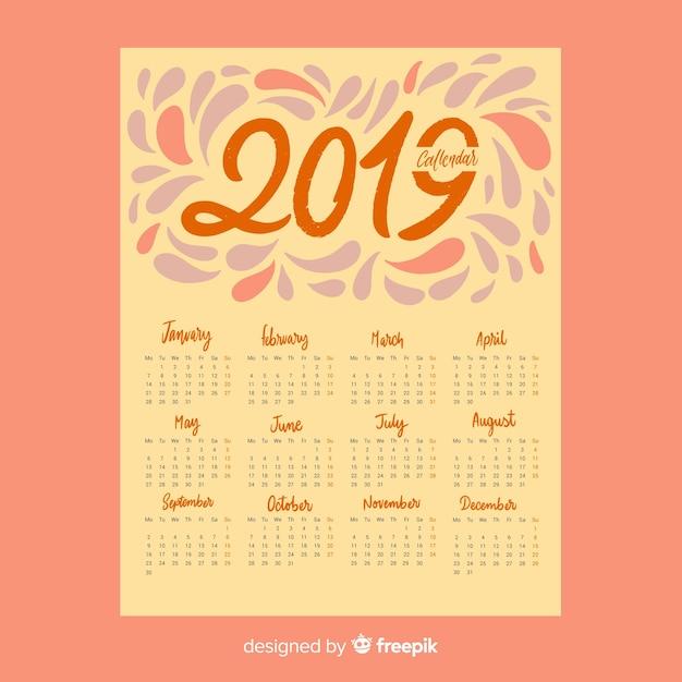 Splash-kalender 2019 Gratis Vector