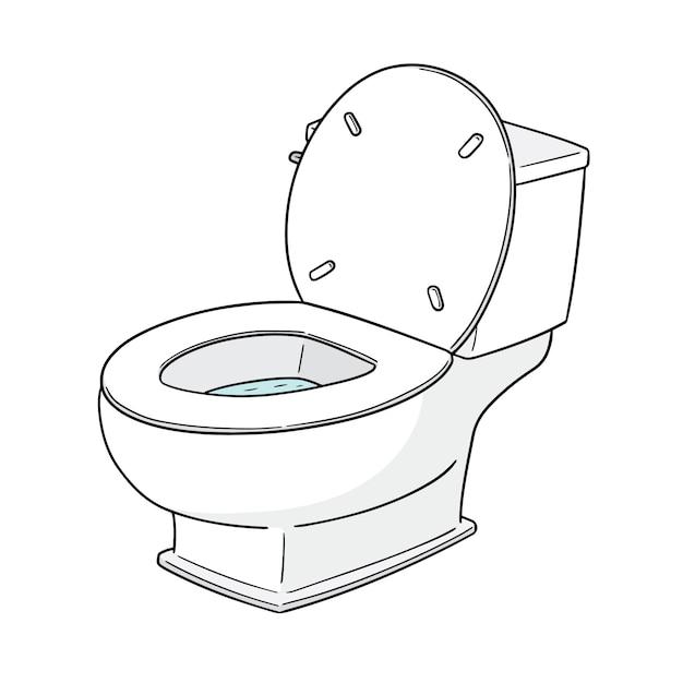 Spoel het toilet door Premium Vector