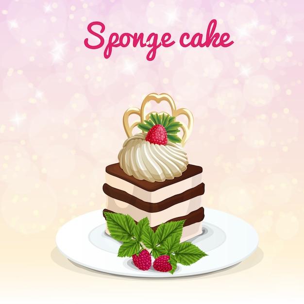Sponge cake illustratie Gratis Vector