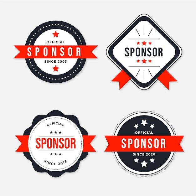 Sponsor label collectie Gratis Vector