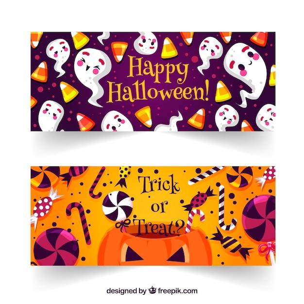 Halloween Snoep.Spookbanners En Halloween Snoep Vector Gratis Download