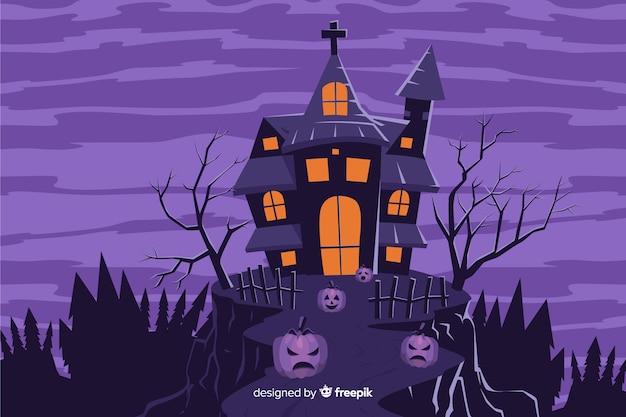 Spookhuis op een heuvelachtergrond Gratis Vector