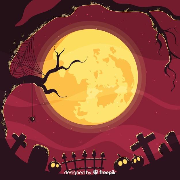 Spooky halloween achtergrond Gratis Vector