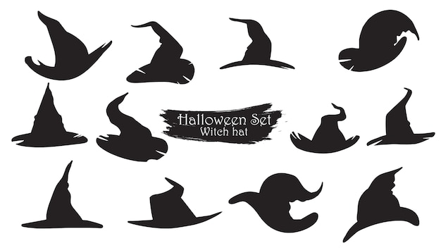 Spooky heks hoeden silhouet collectie van halloween Premium Vector