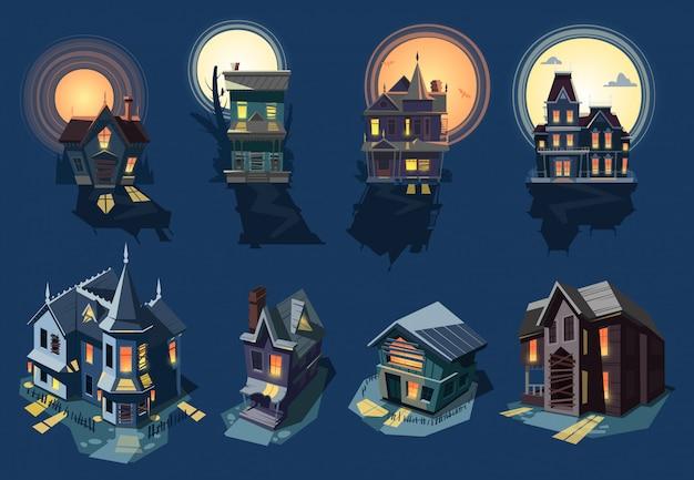 Spooky house spookkasteel met donkere enge horror nachtmerrie op halloween maanlicht mysterie illustratie nachtelijke set van griezelig gebouw op achtergrond Premium Vector