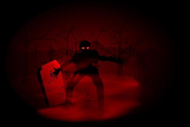 Spooky illustratie van zombie op begraafplaats Premium Vector